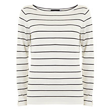 Buy Mint Velvet Stripe Cut Out Sleeve Jumper, Ivory Online at johnlewis.com