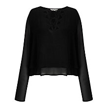 Buy Miss Selfridge Long Sleeve Cut Out Top, Black Online at johnlewis.com