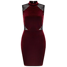 Buy Miss Selfridge High Neck Mesh Insert Dress, Burgundy Online at johnlewis.com