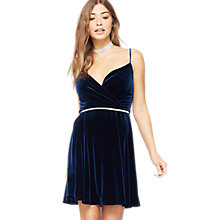 Buy Miss Selfridge Velvet Strappy Dress, Navy Online at johnlewis.com