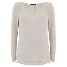 Buy Mint Velvet Crushed Satin Long Sleeve Top, Neutral Online at johnlewis.com