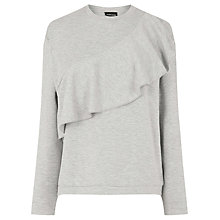 Buy Warehouse Ruffle Sweat Jumper, Light Grey Online at johnlewis.com
