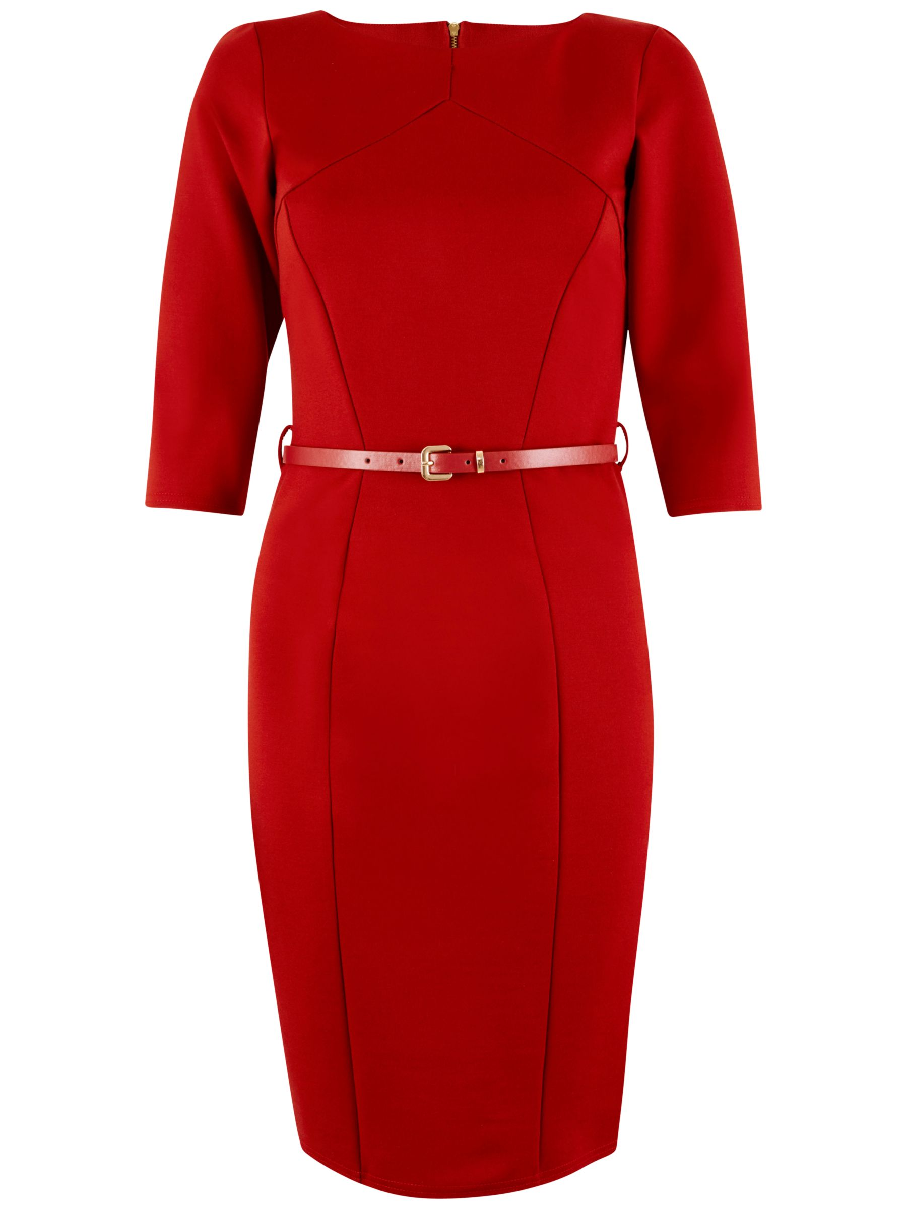 Closet Closet Panel Belted Bodycon Dress, Red