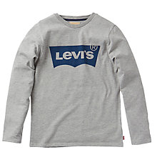 Buy Levi's Boys' Long Sleeve Batlog T-Shirt, Grey Online at johnlewis.com