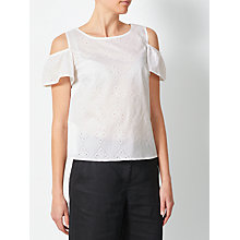 Buy Collection WEEKEND by John Lewis Broderie Cold Shoulder Top, White Online at johnlewis.com
