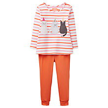 Buy Baby Joule Cat Appliqué Top and Leggings Set, White/Pink Online at johnlewis.com