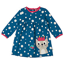 Buy Frugi Organic Spotted Cat Crown Dress, Navy Online at johnlewis.com