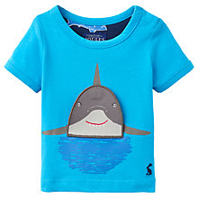 Buy Baby Joule Chomper Shark Appliqué Short Sleeve T-Shirt, Neon Blue Online at johnlewis.com