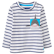 Buy Baby Joule Peeker Shark Pocket Jersey T-Shirt, White/Navy Online at johnlewis.com