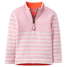 Buy Baby Joule Fairdale Half Zip Striped Sweatshirt, Pink/White Online at johnlewis.com