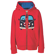 Buy Frugi Organic Boys' Lucas Camper Van Zip Hoodie, Tomato Red Online at johnlewis.com