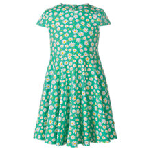 Buy Frugi Organic Girls' Floral Printer Skater Dress, Green Online at johnlewis.com