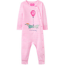 Buy Baby Joule Gracie Dog Appliqué Romper Playsuit, Cherry Online at johnlewis.com