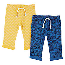 Buy John Lewis Baby GOTS Cotton Cuba Leggings, Pack of 2, Yellow/Blue Online at johnlewis.com