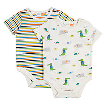 Buy John Lewis Baby Crocodile Striped Bodysuits, Pack of 2, Multi Online at johnlewis.com