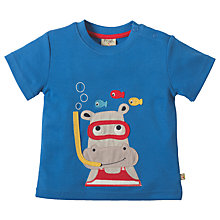 Buy Frugi Organic Baby Little Creature Hippo Applique T-Shirt, Blue Online at johnlewis.com