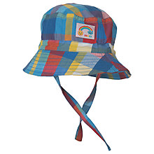 Buy Frugi Organic Baby Little Dexter Check Hat, Blue/Multi Online at johnlewis.com