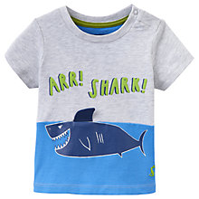 Buy Baby Joule Clawsome Shark Short Sleeve T-Shirt, Grey Online at johnlewis.com