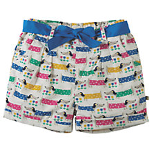Buy Frugi Organic Girls' Sausage Dog Print Seren Shorts, Green/Multi Online at johnlewis.com