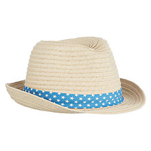 Buy John Lewis Baby Straw Trilby Hat, Brown Online at johnlewis.com