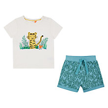 Buy John Lewis Baby GOTS Cotton Cuba Tiger T-Shirt and Shorts Set, White/Multi Online at johnlewis.com