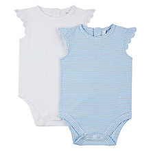 Buy John Lewis Baby Broderie Bodysuits, Pack of 2, White/Blue Online at johnlewis.com