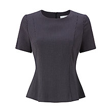 Buy John Lewis Pin Dot Peplum Top, Navy Online at johnlewis.com
