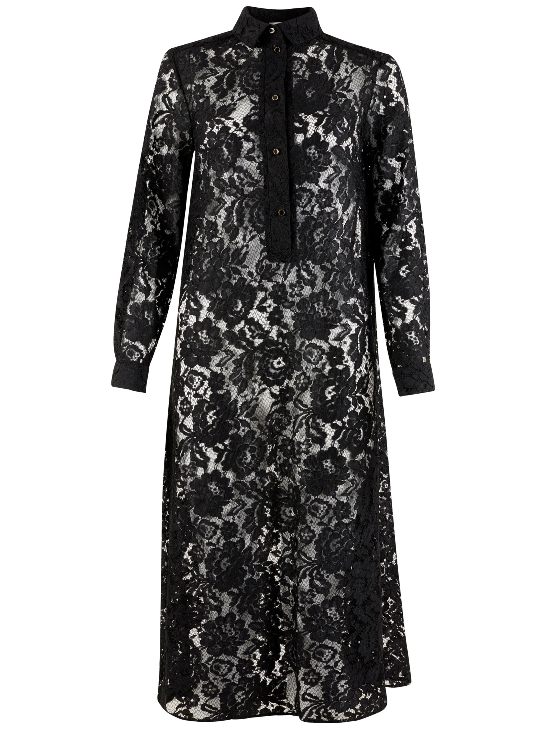 Closet Closet Long Lace Shirt Dress, Black