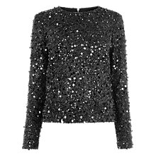 Buy Warehouse Long Sleeve Sequin Top, Black Online at johnlewis.com