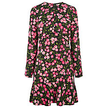 Buy Warehouse Cherry Blossom Flippy Dress, Black Online at johnlewis.com