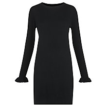 Buy Whistles Frill Cuff Knitted Dress, Black Online at johnlewis.com