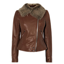 Buy Karen Millen Faux Fur Trim Aviator Jacket, Brown Online at johnlewis.com