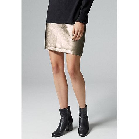 buy warehouse metallic faux leather skirt gold lewis