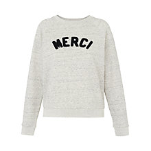 Buy Whistles Merci Embroidered Sweatshirt, Grey Marl Online at johnlewis.com
