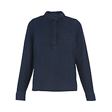 Buy Whistles Matilda Frill Neck Blouse, Dark Denim Online at johnlewis.com