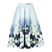 Buy Jolie Moi Floral Print A-Line Midi Skirt, Grey Online at johnlewis.com