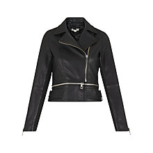 Buy Whistles Buckle Leather Biker Jacket, Black Online at johnlewis.com