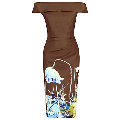 Jolie Moi Bardot Neckline Floral Shift Dress, Brown