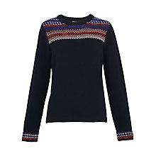 Buy Whistles Crochet Detail Knit Jumper, Navy Online at johnlewis.com