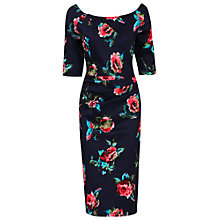 Buy Jolie Moi Retro Floral Print Half Sleeve Dress, Navy Online at johnlewis.com