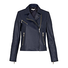Buy Whistles Mason Leather Biker Jacket, Navy Online at johnlewis.com