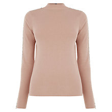 Buy Warehouse Embellished Sleeve Jumper, Light Pink Online at johnlewis.com