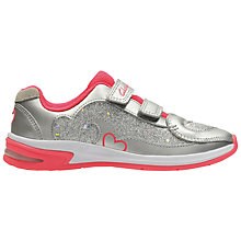 Buy Clarks Children's Piper Chat Leather Trainers, Silver Online at johnlewis.com