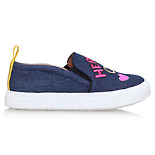 Buy Mini Miss KG Children's Here Comes Trouble Slip-On Trainers, Denim Online at johnlewis.com