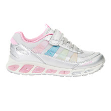 Buy Geox Children's Shuttle Light-Up Riptape Trainers, Silver/Multi Online at johnlewis.com