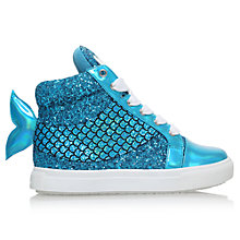 Buy Mini Miss KG Children's Mermaid Glitter High Top Trainers, Turquoise Online at johnlewis.com