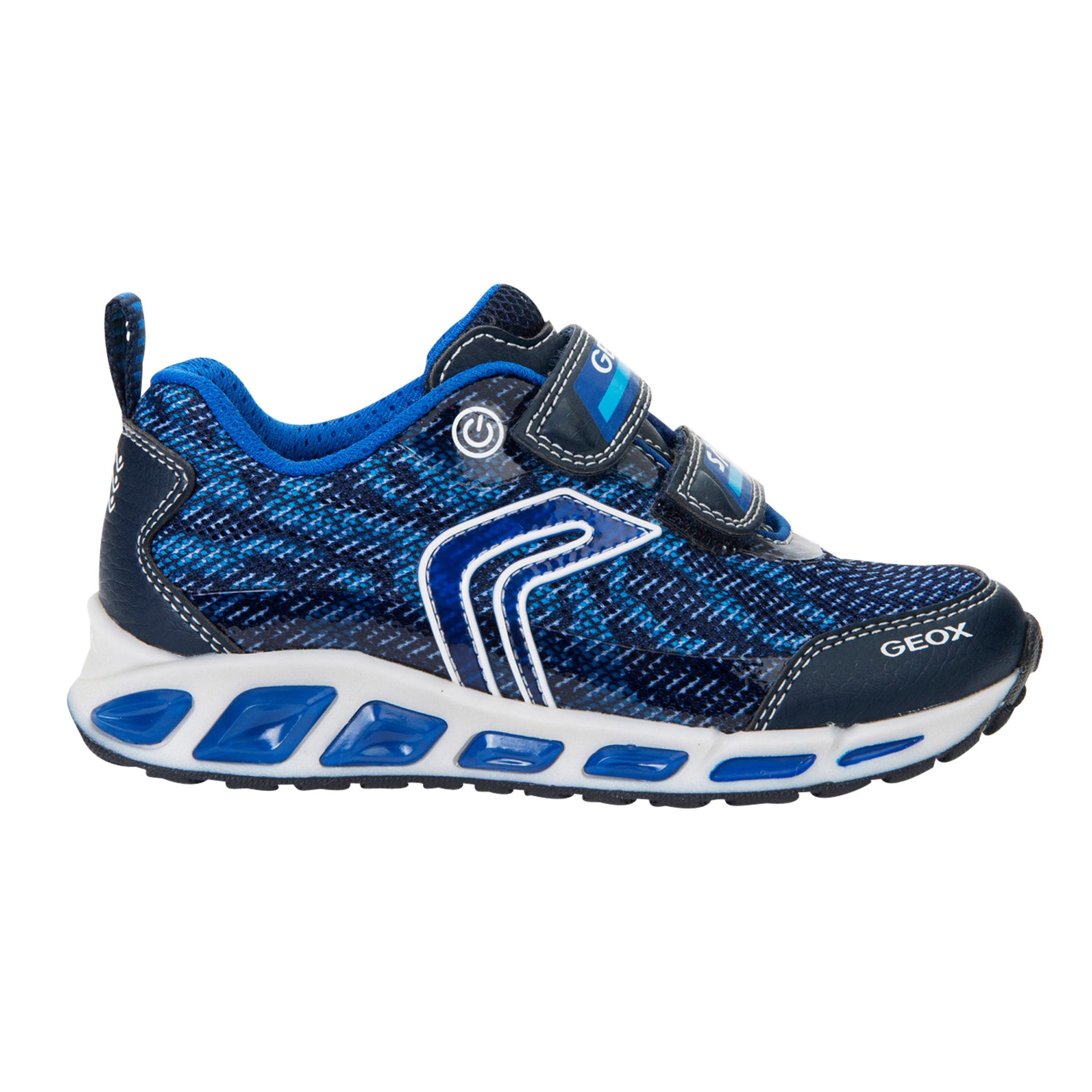 Geox Geox Children's Shuttle Light-Up Double Riptape Trainers, Navy/Royal Blue