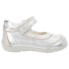 Buy Geox Children's Kaytan Rip-Tape Scalloped Mary Jane Shoes, Light Grey Online at johnlewis.com