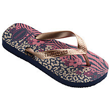 Buy Havaianas Children's Slim Flores Flip Flops, Navy Blue/Rose Online at johnlewis.com
