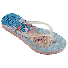 Buy Havaianas Children's Slim Frozen Flip Flops, Pink Online at johnlewis.com